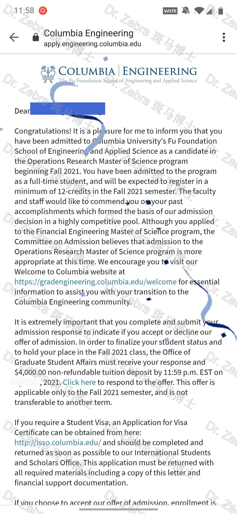 斑马博士留学中心、斑马博士、哥伦比亚大学 、Columbia University 、MS in Operations Research 、MSOR